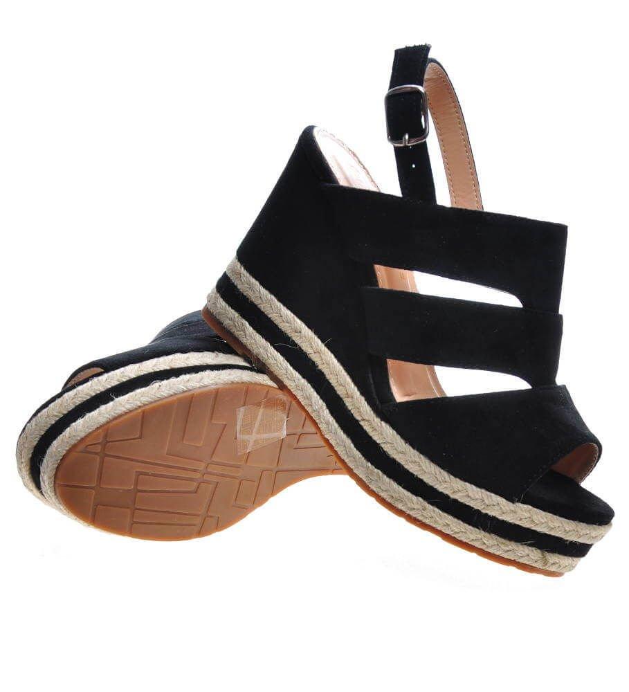 Espadrye na koturnie czarne sandały damskie F4 3 4466 S214