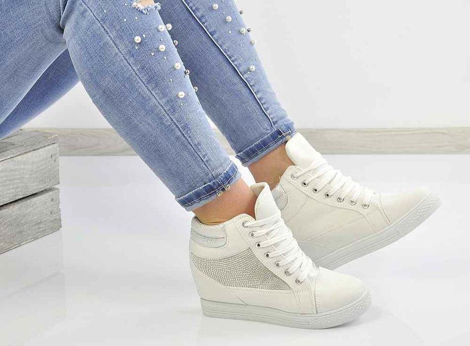 0f2403750b196 Trampki sneakersy na koturnie /G13-3 Ae234 S127/ Białe | Pantofelek24.pl