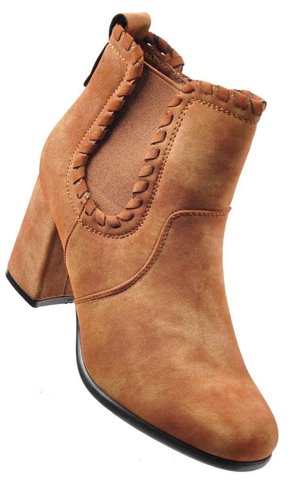 1ecfe59bfe255 Camelowe botki na obcasie /C6-1 2275 S328/ | Pantofelek24.pl