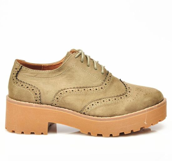 Buty na platformie CREEPERSY- Outlet- Oliwkowe /D5-1 2921 S192/