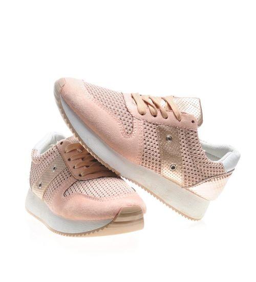 Lekkie sportowe buty damskie z siateczką Różowe C4 3 4569 S174