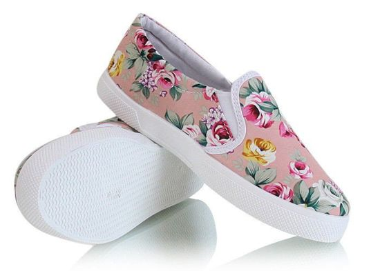 Trampki slip on Flower pink /G13-1 X11 tx233/