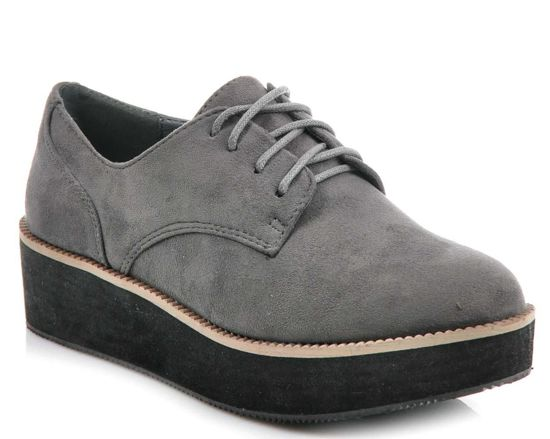 Buty creepersy na platformie SZARE /G5-2 1561 S325/