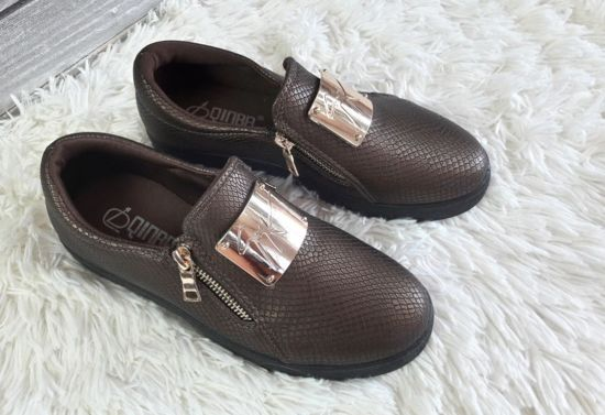 Trampki slip on z blaszką /B6-2 Ab178 S247/ Brown
