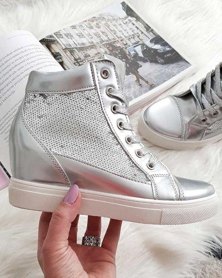 b69f64416a054 Błyszczące trampki sneakersy na koturnie SREBRNE /C1-1 2819 S291/
