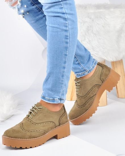 Buty na platformie CREEPERSY- Outlet- Oliwkowe /D2-3 2921 S192/