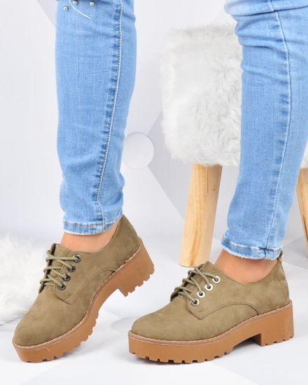 10d21658 Creepersy- zamszowe buty na platformie Oliwkowe /D3-3 2946 S192/