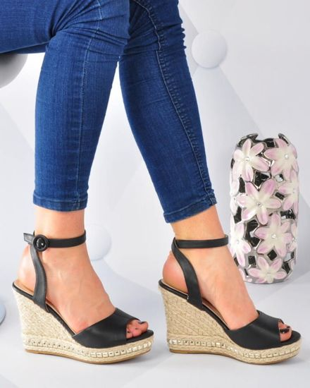 fdd0e126 Czarne sandały espadryle na koturnie i platformie /G7-3 3083 S391/