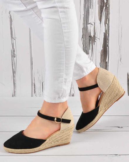 750f4148f1ef4 Czarne sandały espadryle z zabudowanymi piętami /E5-1 3402 S4/