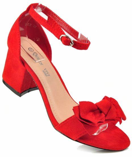 bc571f1d974f9d Czerwone sandały damskie na niskim słupku /A5-3 3549 S215/