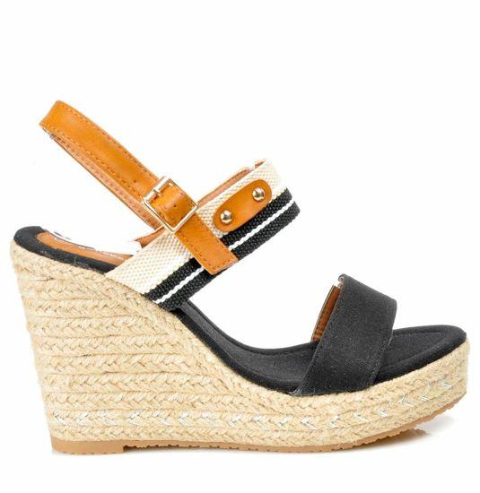 7e222263 Damskie sandały espadryle na koturnie i platformie CZARNE /G6-2 3077 S419/