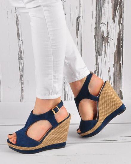 9dc711a3 Granatowe sandały damskie na koturnie i platformie /G11-3 3364 S326/