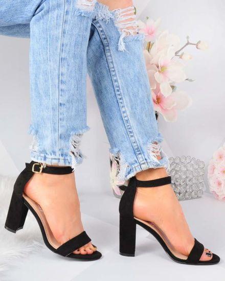 8e888029af37a6 Klasyczne czarne sandały na słupku /F7-3 3281 S413/