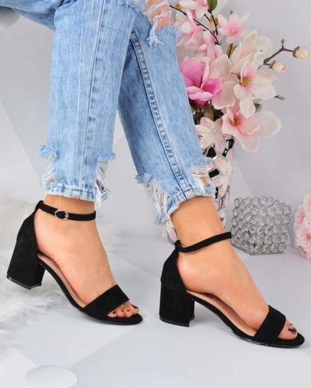 22ff1f4eebe94 Klasyczne damskie sandały na słupku CZARNE /F6-2 3289 S314/