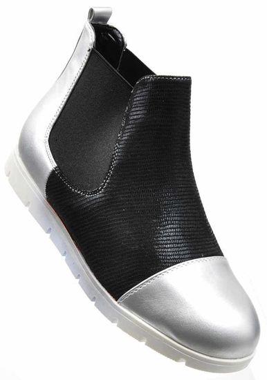c28d880cdef60 Łączone botki damskie ze srebrnymi noskami /D8-2 2370 S198/