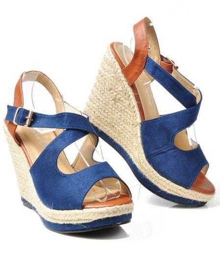 313ba12b431645 Letnie buty damskie- sandały na platformie GRANATOWE /B6-2 3500 S326/