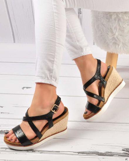 f5175473 Letnie buty na koturnie- Czarne sandały /B5-3 3491 S213/
