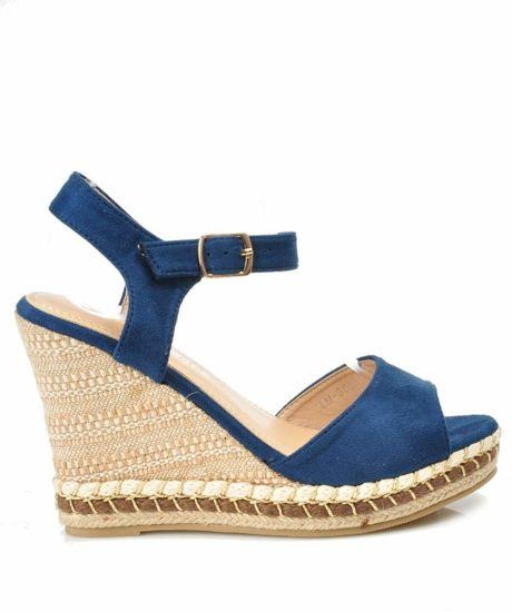 478172ea Niebieskie sandały espadryle na koturnie i platformie /G8-2 3079 S513/