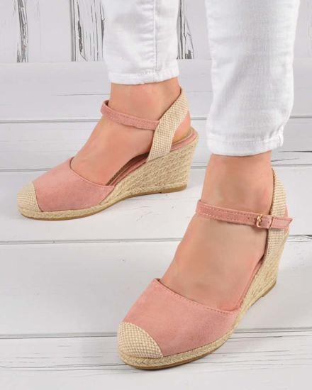 917720a9 Różowe sandały espadryle z odkrytymi piętami /E5-1 3403 S424/