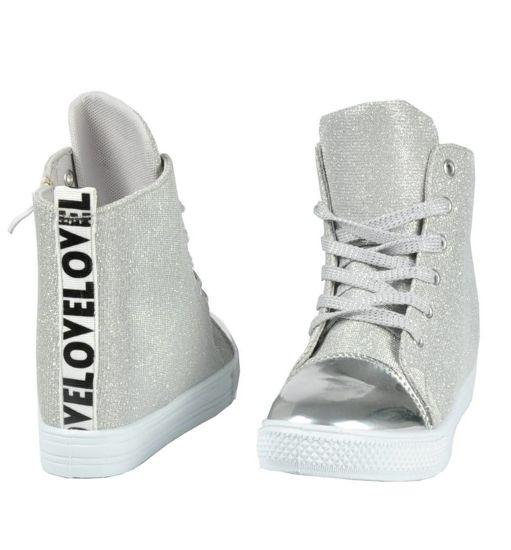 9a6e8fa482 Srebrne trampki sneakersy na średnim koturnie  D1-2 2884 S188