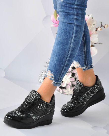 f4b5ab9f2a7bb Sznurowane trampki sneakersy na koturnie CZARNE /B3-3 3185 S192/