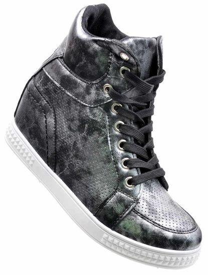 a7ec402ce1b17 Trampki sneakersy na niskim koturnie CZARNE /D2-1 2307 S3/