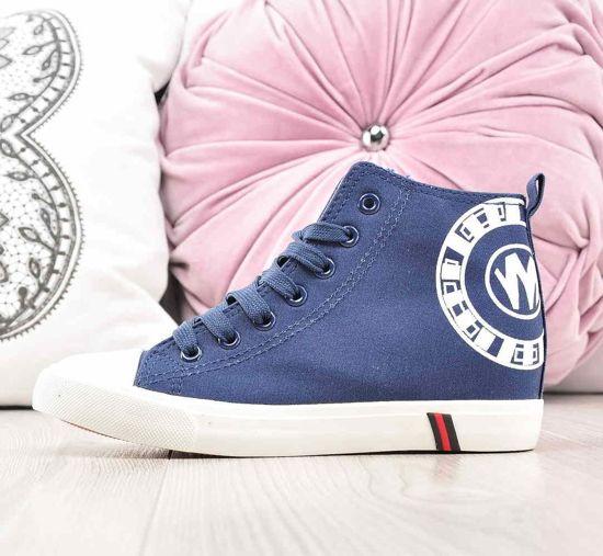 a468bcd240c1c Trampki sneakersy na niskim koturnie GRANATOWE /C7-1 2277 S195/