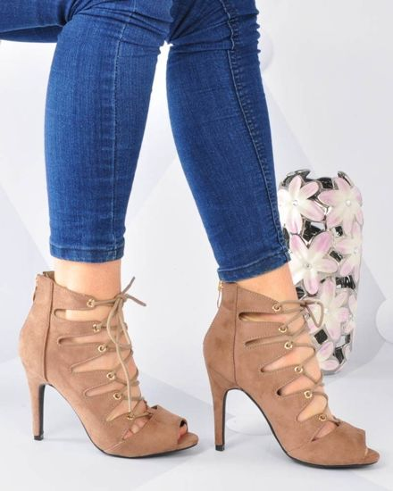 8c7dd95e Wiązane sandały na szpilce Lace Up KHAKI /G11-1 3064 S254/