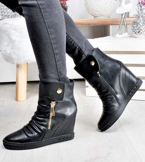 6fcc109420ba6 Wygodne trampki sneakersy z wysoką cholewką CZARNE /F1-2 2524 S2/